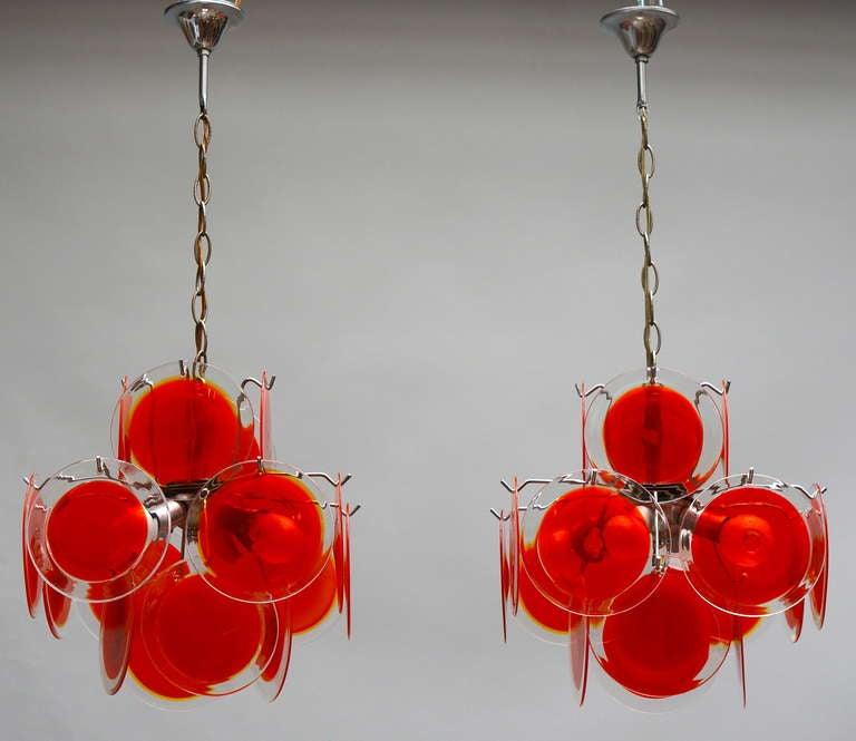 Italian Pair of Vistosi Murano Chandeliers For Sale