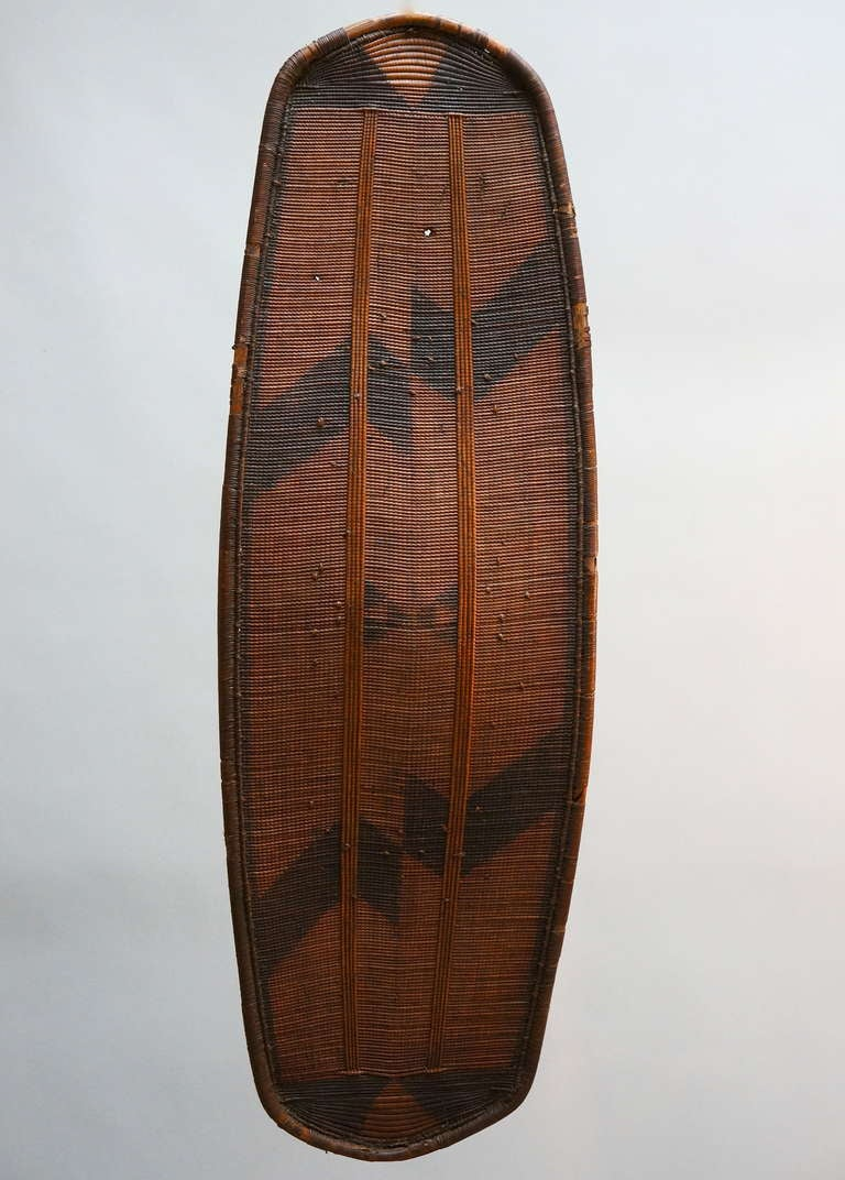 Congolese African Woven Cane Shield from the Congo For Sale