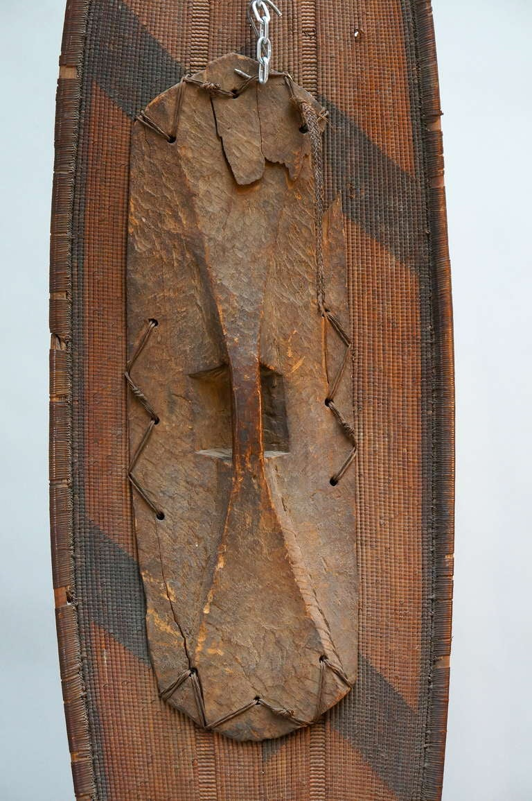 African Woven Cane Shield from the Congo For Sale 3