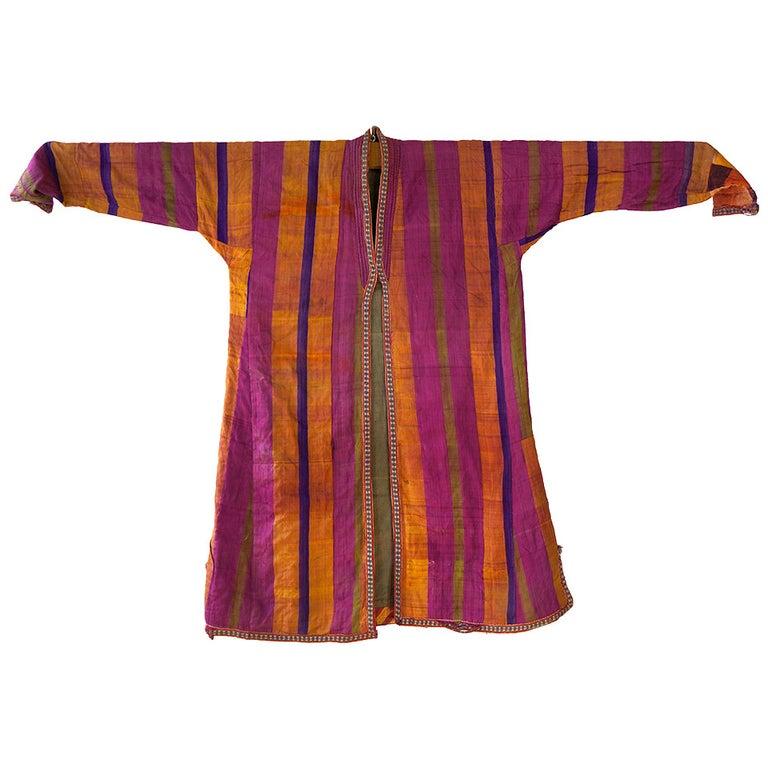 Chapan Mantel of Silk Ikat from Uzbekistan For Sale