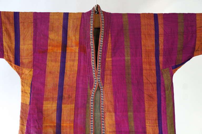 Folk Art Chapan Mantel of Silk Ikat from Uzbekistan For Sale