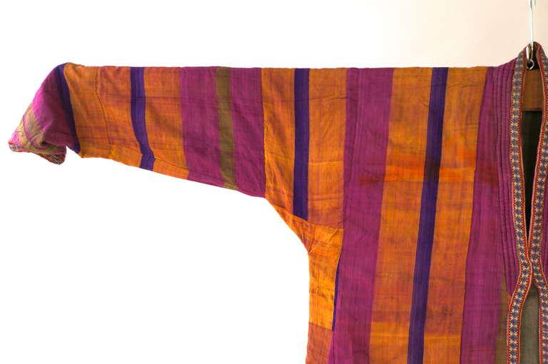 A late 19th century mantel of silk Ikat from Uzbekistan.