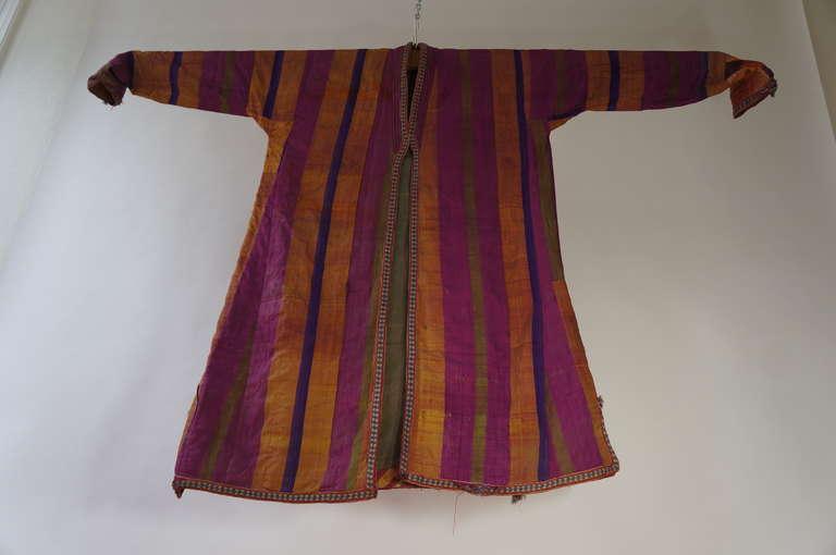 Chapan Mantel of Silk Ikat from Uzbekistan For Sale 3