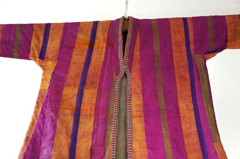 19th Century Chapan Mantel of Silk Ikat from Uzbekistan For Sale