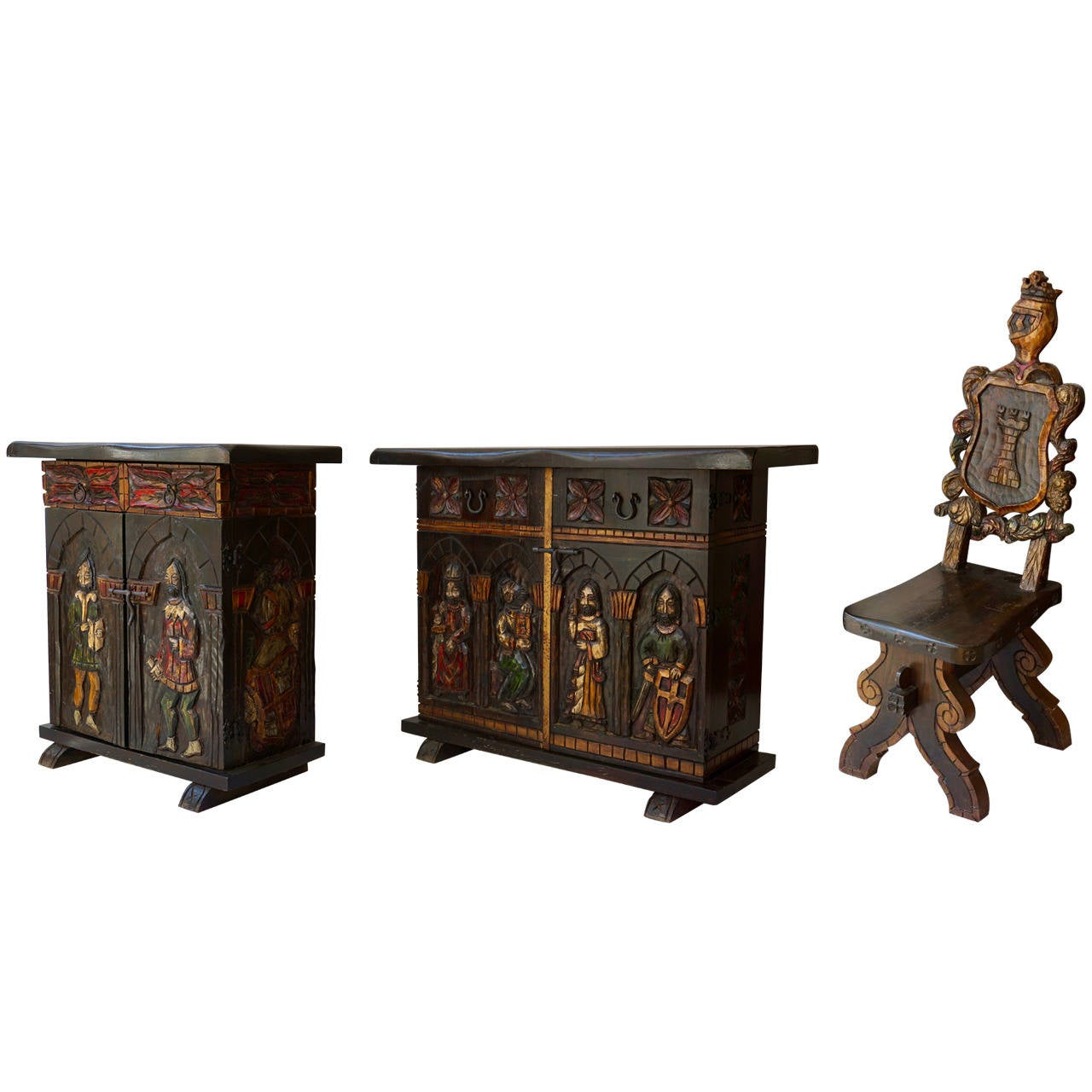 Set of Two Sideboards and One Chair