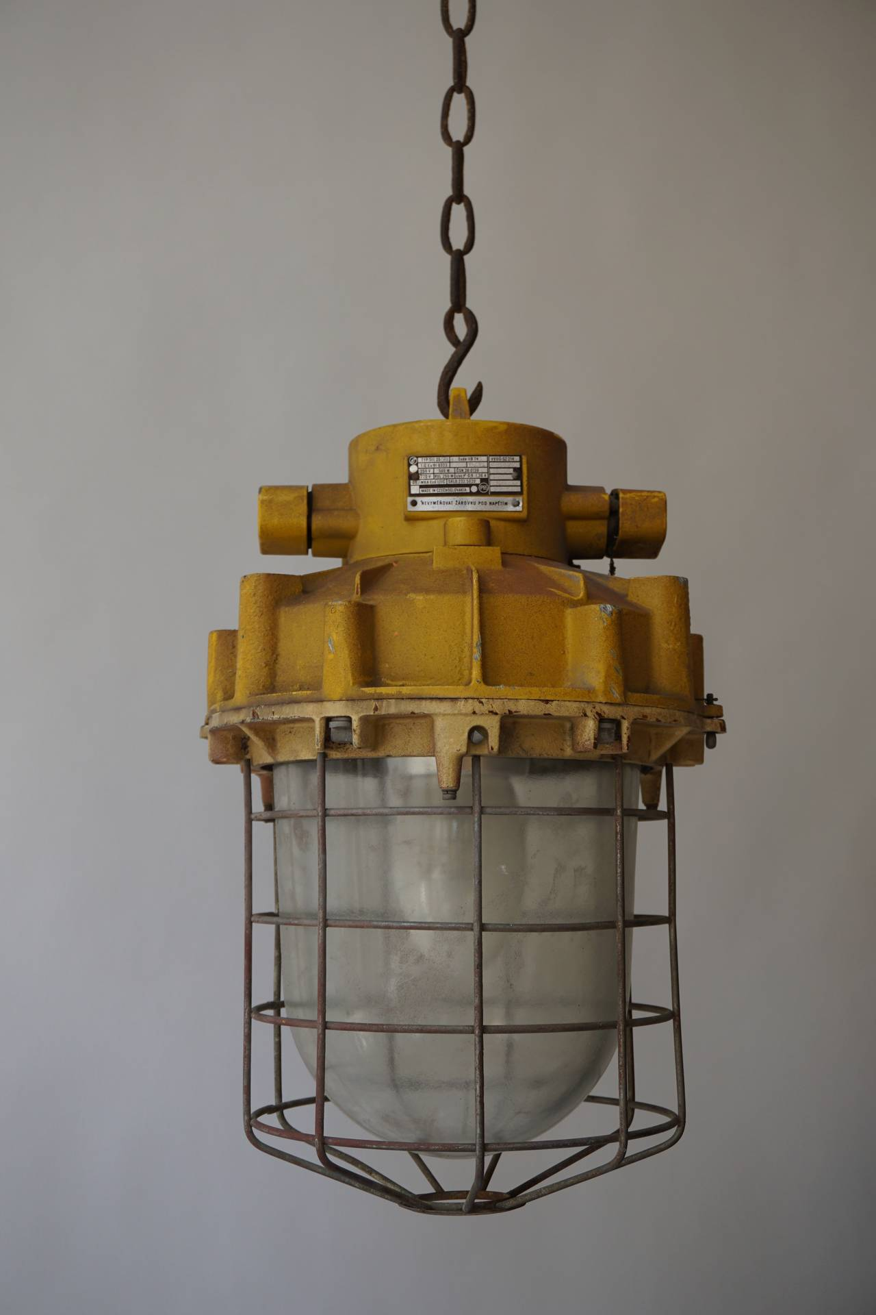 Glass Set of Four Large Industrial Lights For Sale