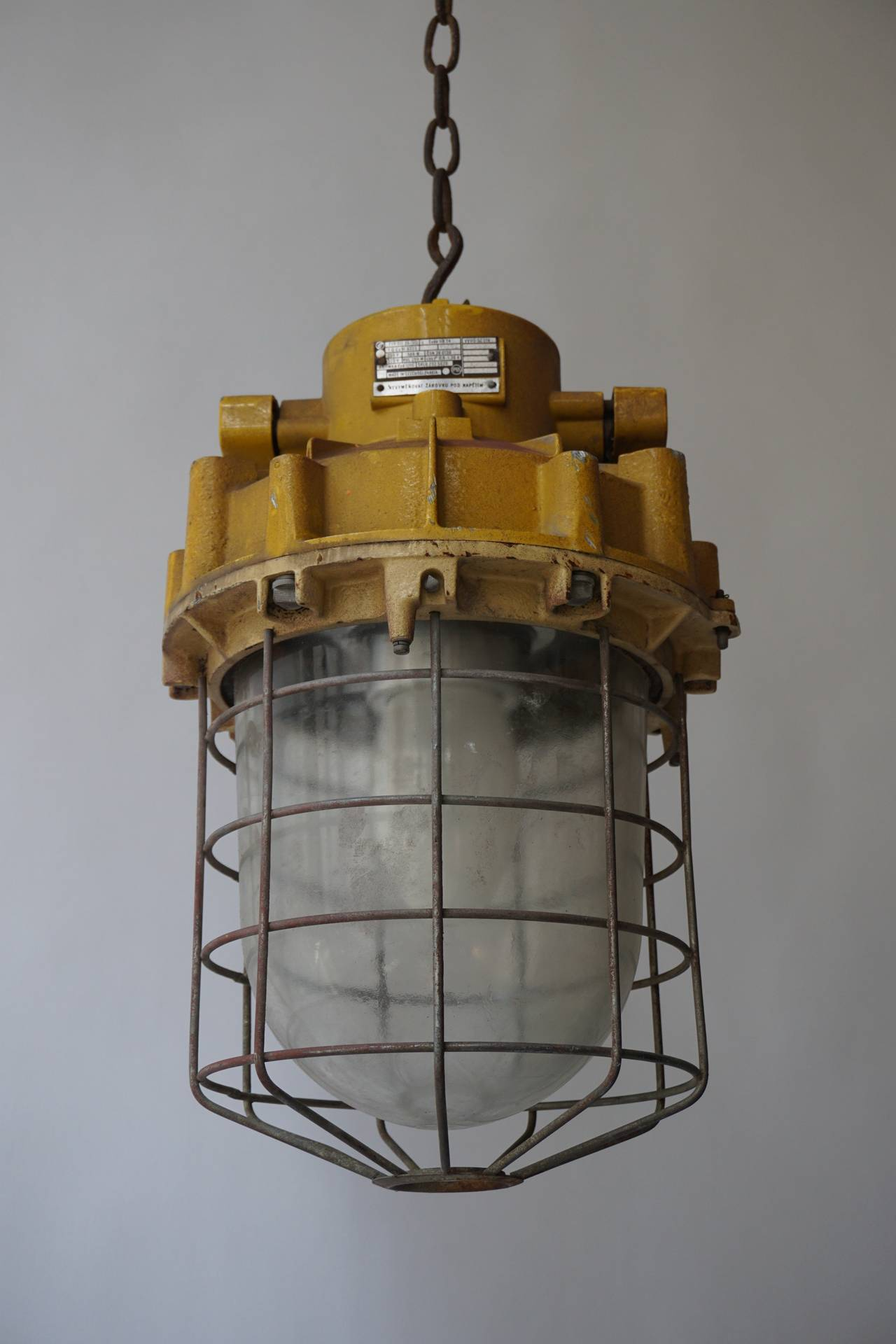 Czech Set of Four Large Industrial Lights For Sale