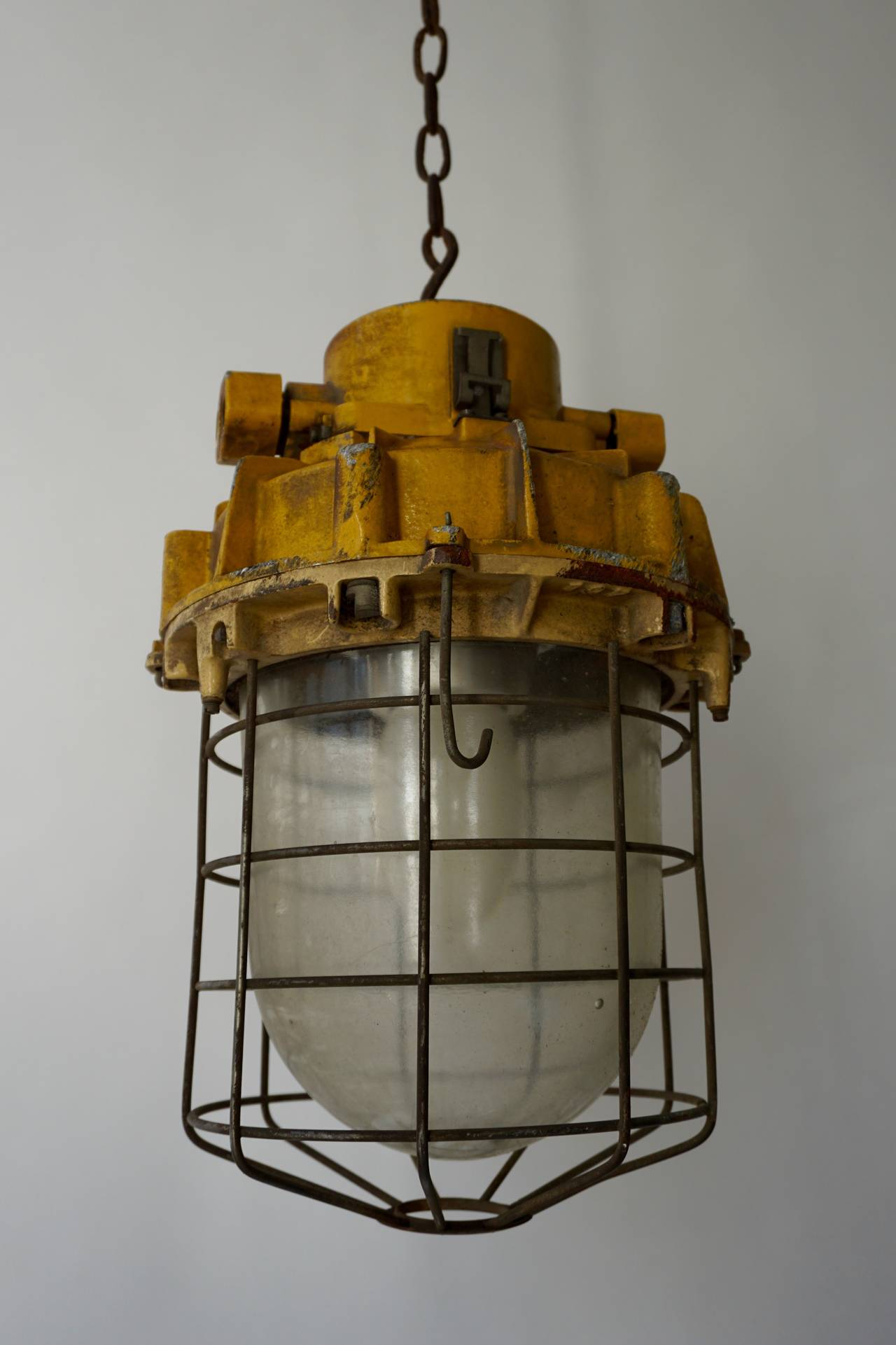 Mid-Century Modern Set of Four Large Industrial Lights For Sale