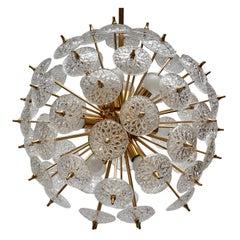 One of Two Large Modernist Flower Sputnik Chandeliers