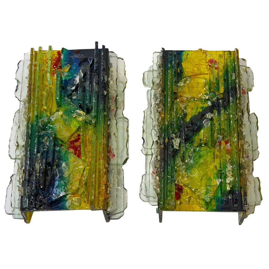 """Two RAAK """"Chartres"""" Multicolored Glass Shard Sconces"""