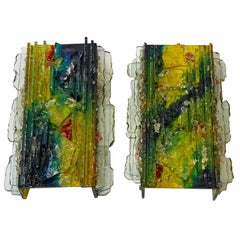 "Two RAAK ""Chartres"" Multicolored Glass Shard Sconces"