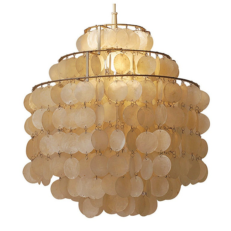 Two Original Capiz Shell Chandeliers by Verner Panton at 1stdibs