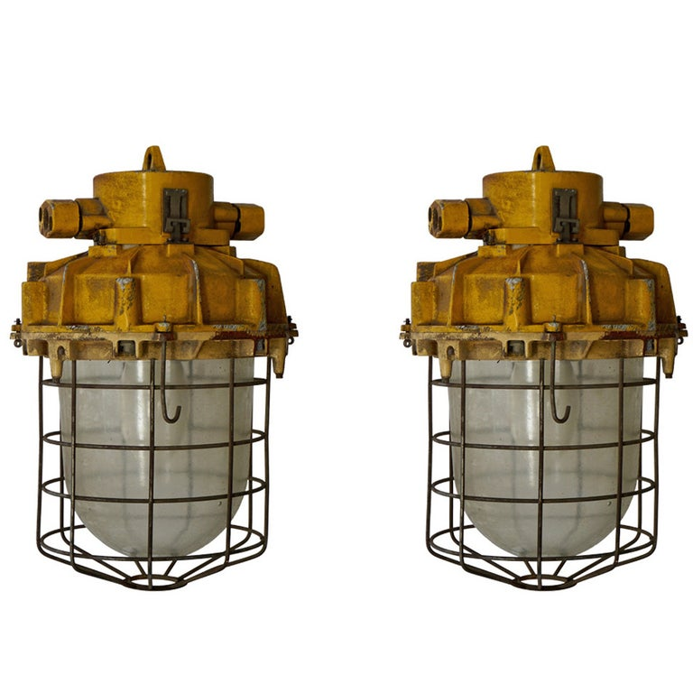 Set of Four Large Industrial Lights For Sale