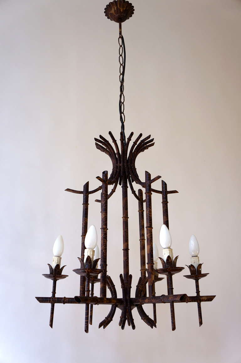 Mid-Century Modern French Art Deco Chandelier in the Style of Jacques Adnet For Sale
