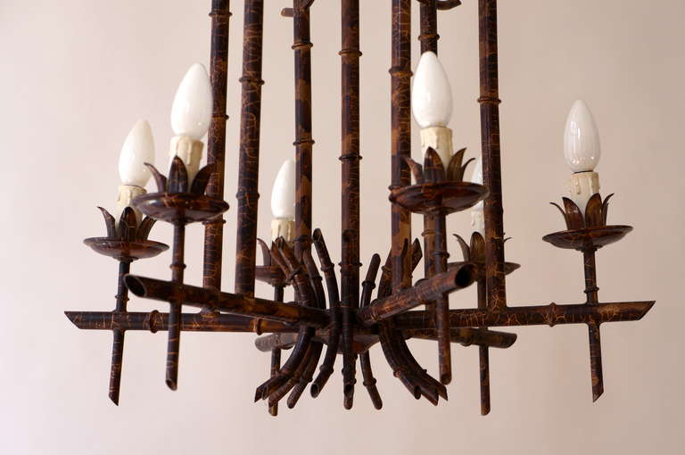 French Art Deco Chandelier in the Style of Jacques Adnet For Sale 4