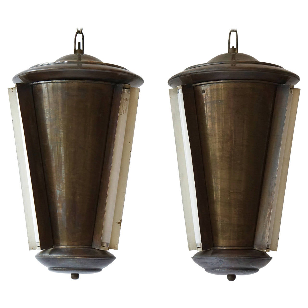 Set of Two Conical Industrial Lights