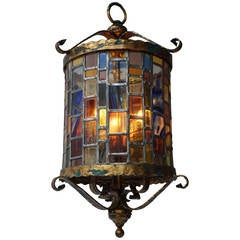 Large Monumental Stained Glass Lantern