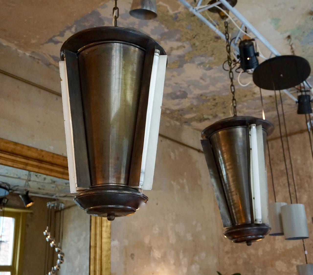 Italian Set of Two Conical Industrial Lights For Sale