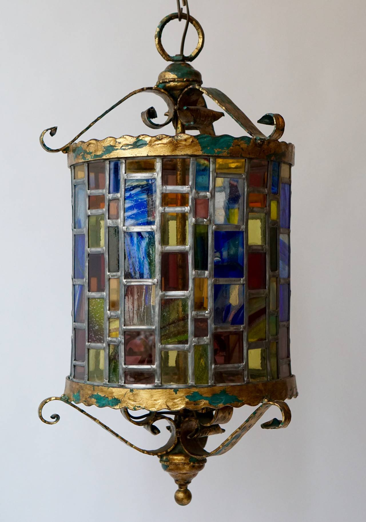 Large Monumental Stained Glass Lantern At 1stdibs