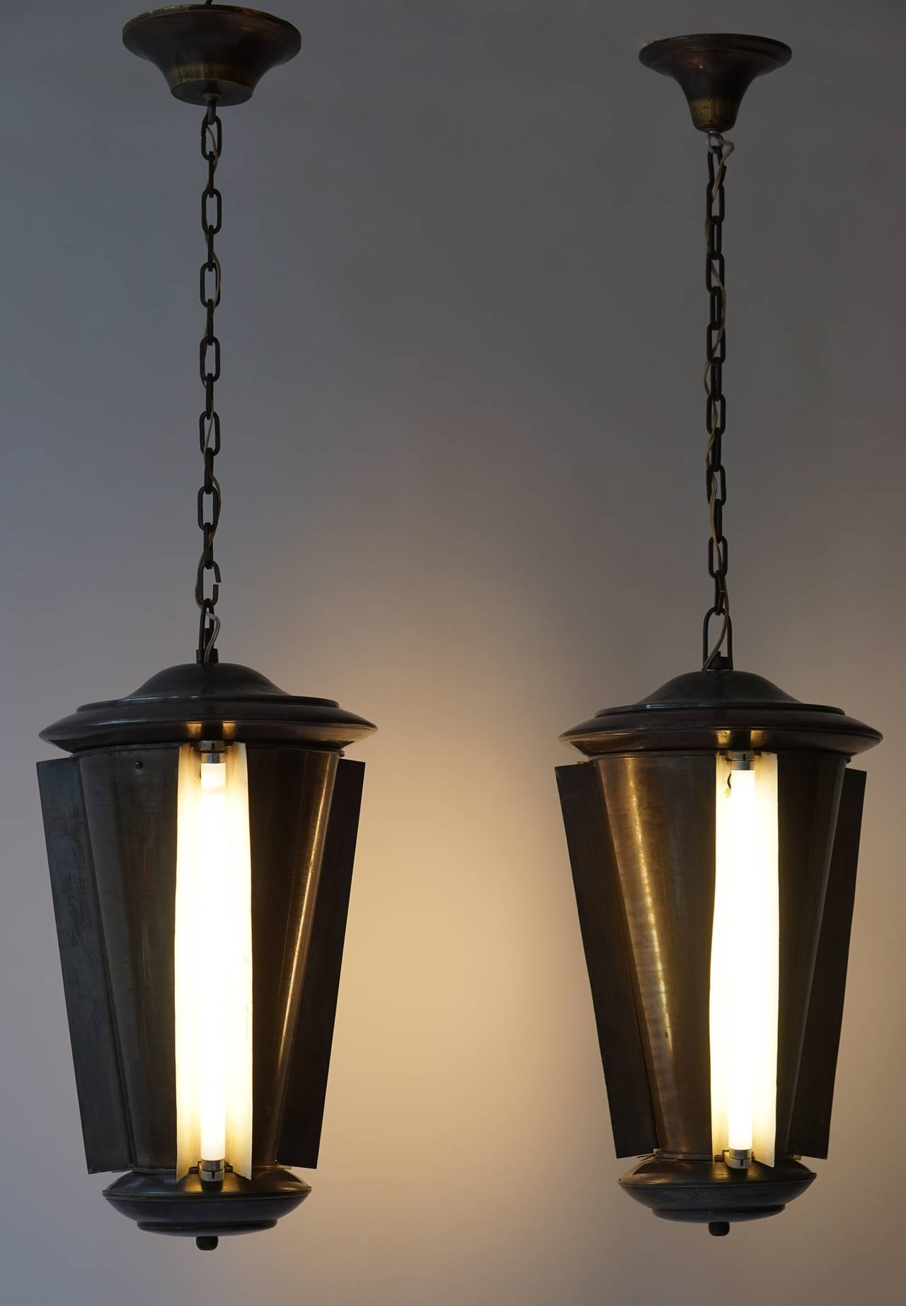 20th Century Set of Two Conical Industrial Lights For Sale