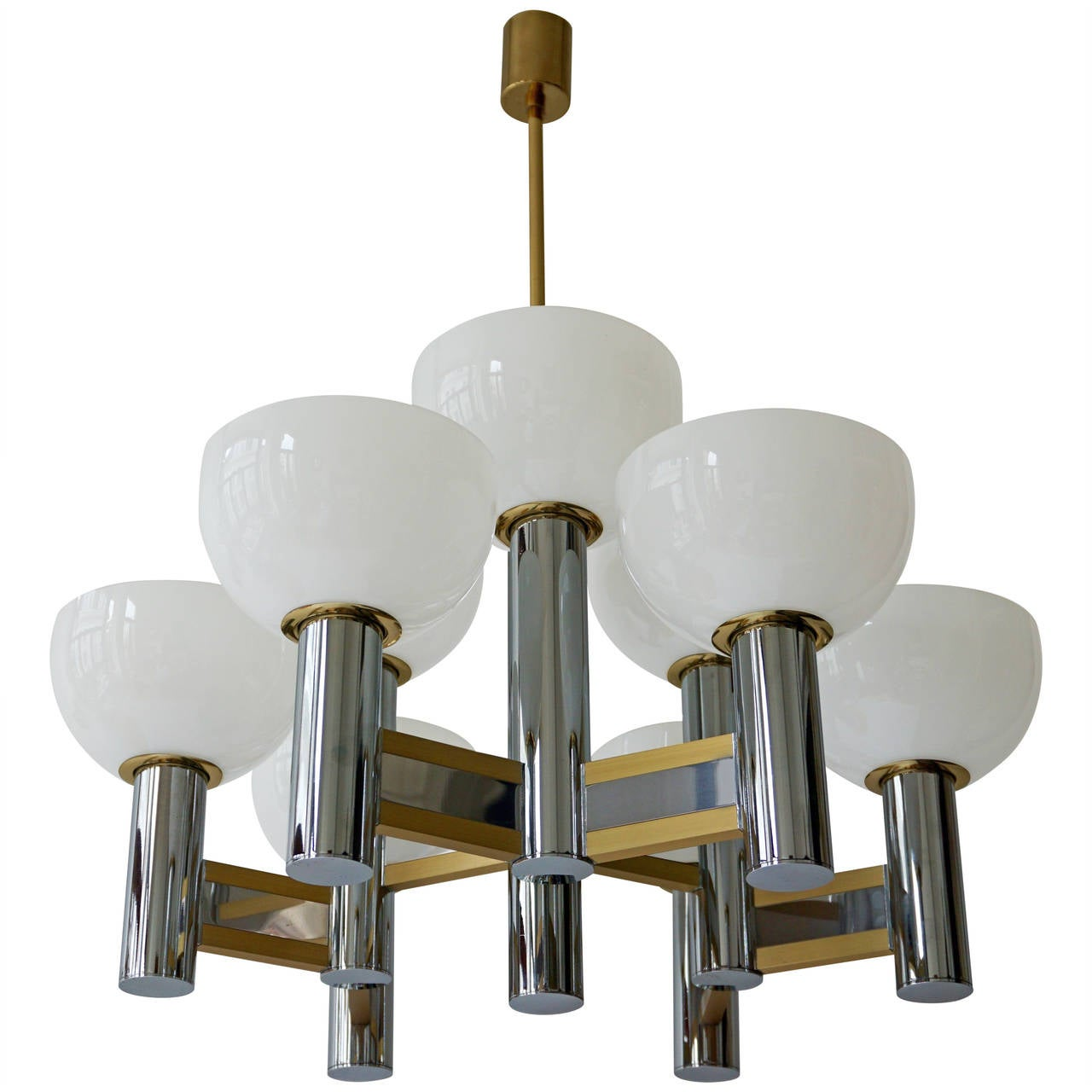 Geometric Brass Chandelier: Sciolari Geometric Chandelier For Sale At 1stdibs