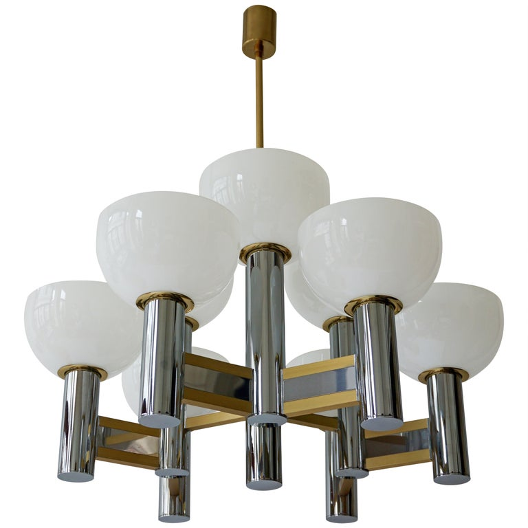 Sciolari Geometric Chandelier with Murano Glass Coupes For Sale