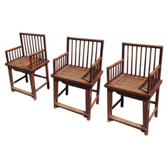 Set of Three Elegant Chinese Early 20th Century Spindle Back Chairs