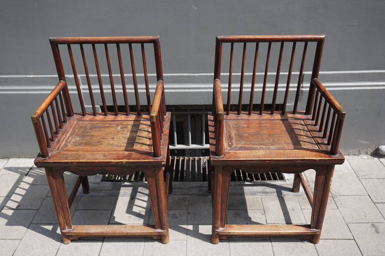 Set of Three Elegant Chinese Early 20th Century Spindle Back Chairs For Sale 1