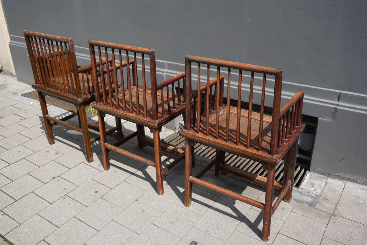 Set of Three Elegant Chinese Early 20th Century Spindle Back Chairs For Sale 5