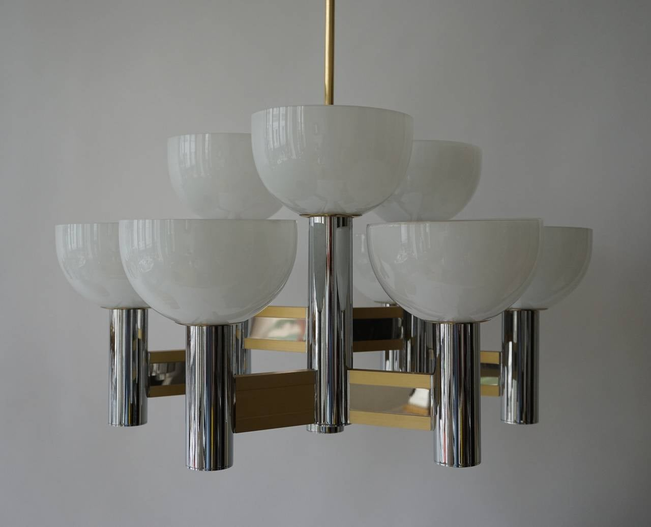 Metal Sciolari Geometric Chandelier with Murano Glass Coupes For Sale