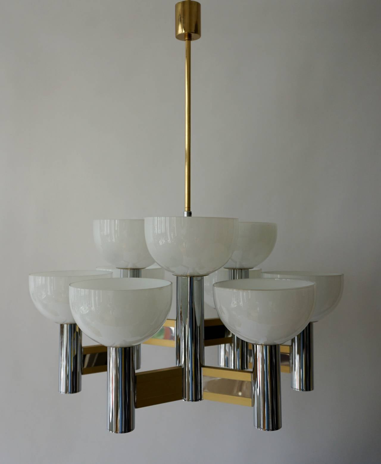 Italian Sciolari Geometric Chandelier with Murano Glass Coupes For Sale