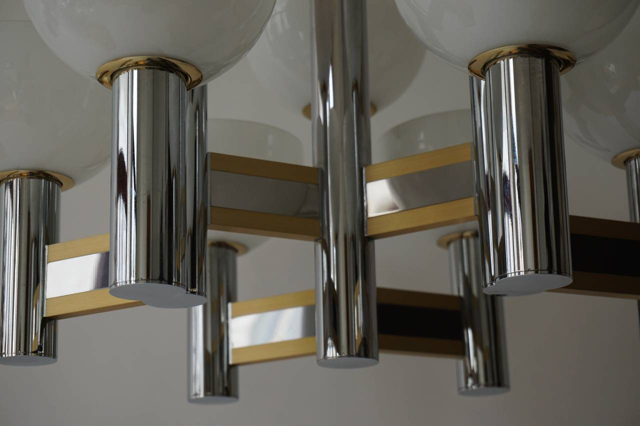 Sciolari Geometric Chandelier with Murano Glass Coupes For Sale 2