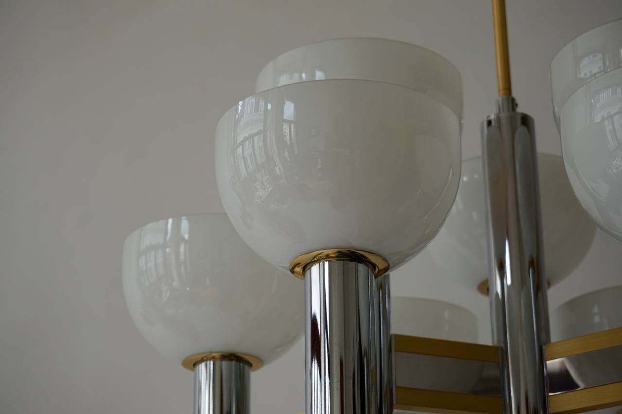 20th Century Sciolari Geometric Chandelier with Murano Glass Coupes For Sale