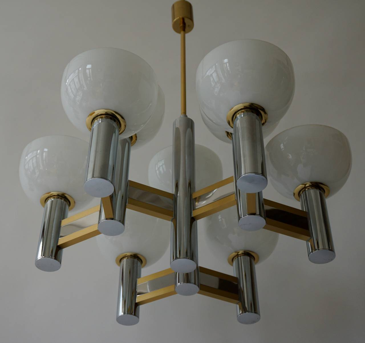Sciolari Geometric Chandelier with Murano Glass Coupes In Good Condition For Sale In Antwerp, BE