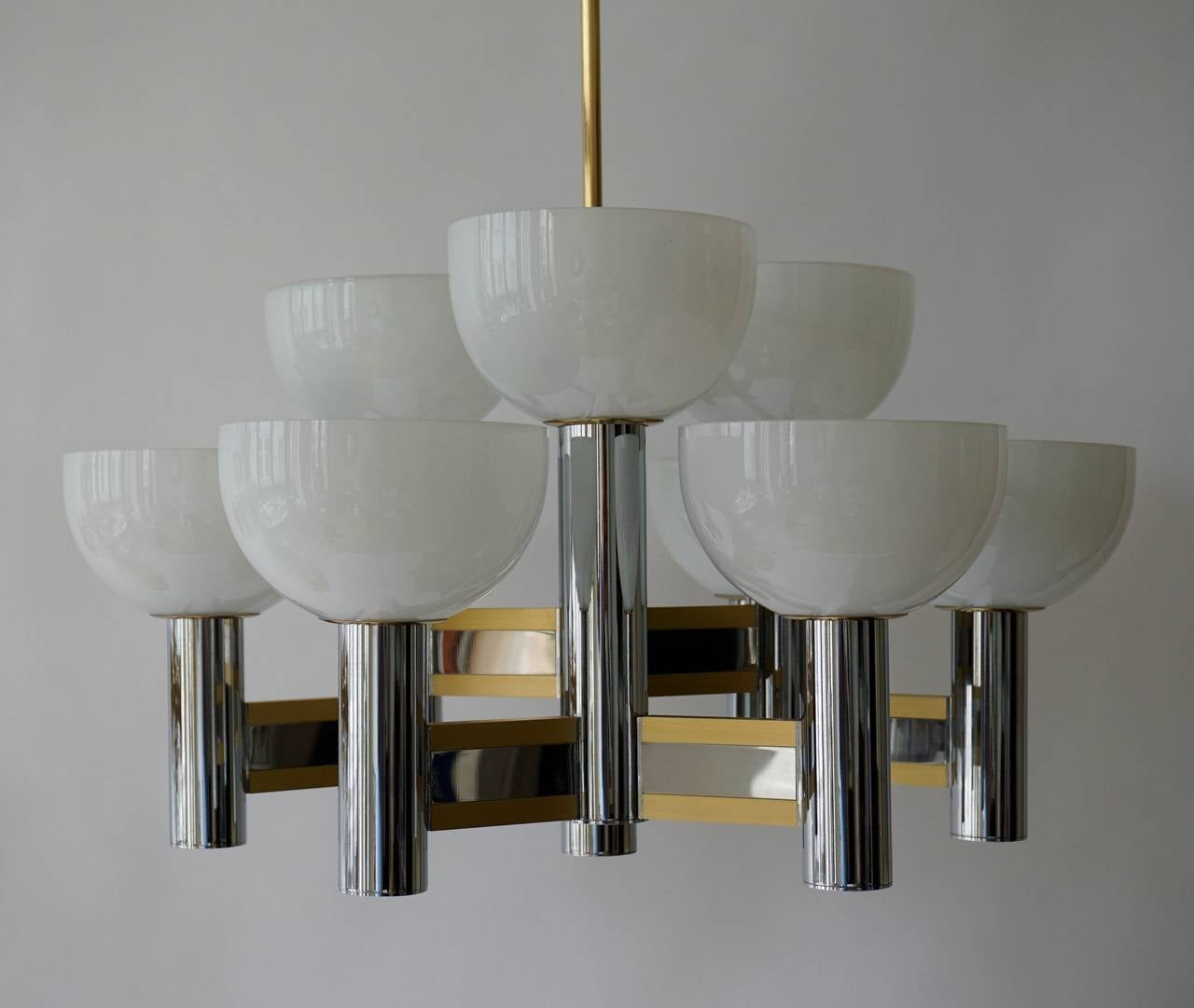 Sciolari Geometric Chandelier with Murano Glass Coupes For Sale 1