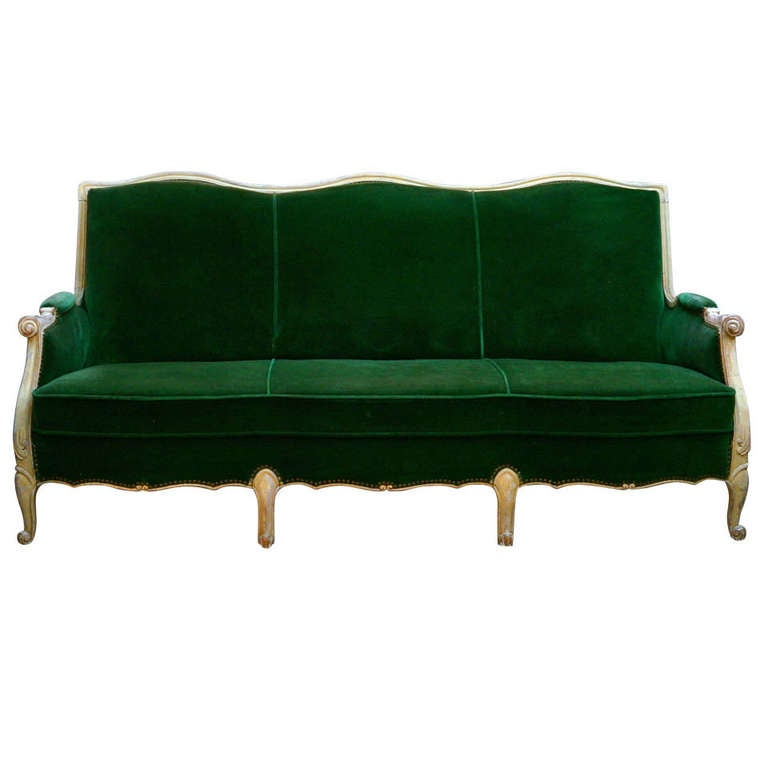 Louis Xvl Sofa With Green Velvet Fabric At 1stdibs