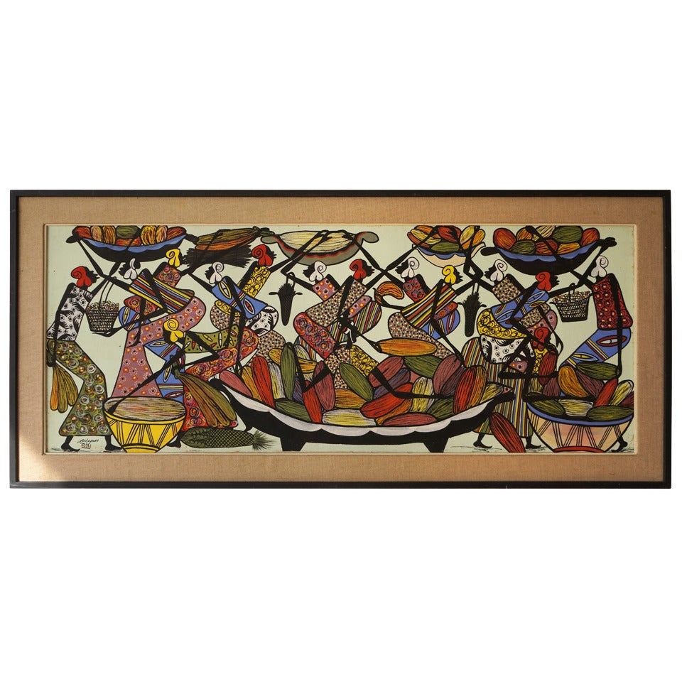 Large African Painting by Ngasagras