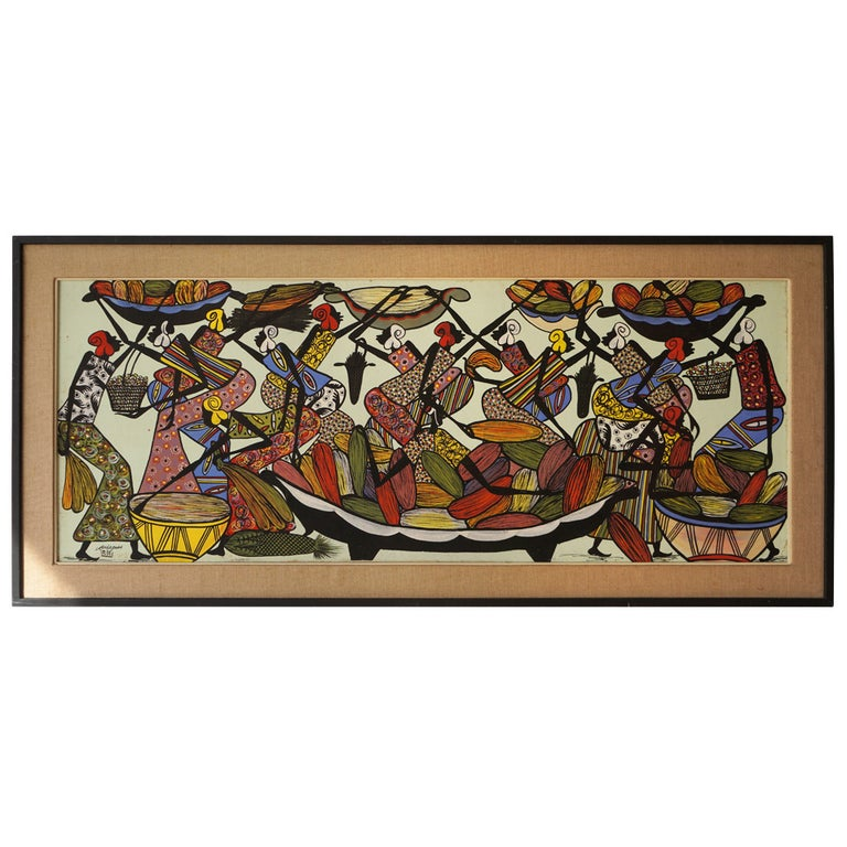 Large African Painting by Ngasagras  For Sale