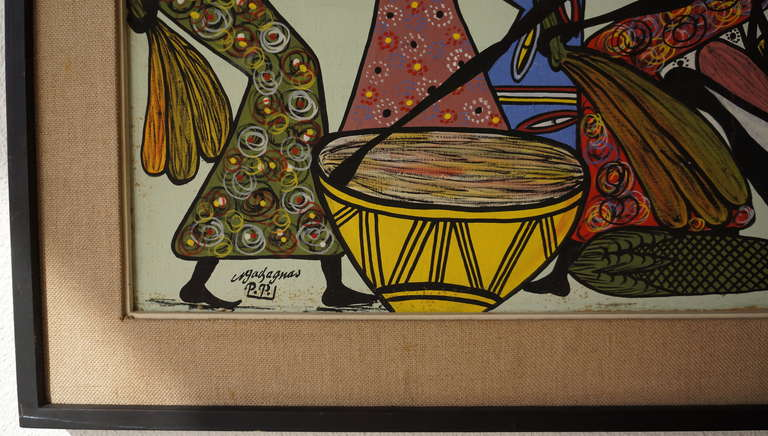 Large African Painting by Ngasagras  In Good Condition For Sale In Antwerp, BE