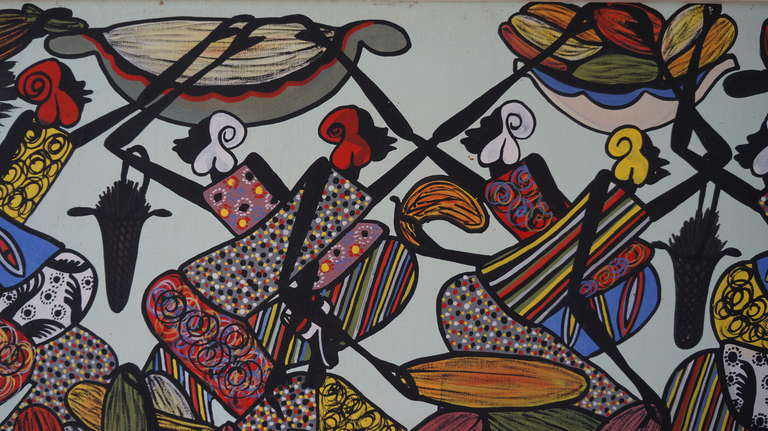 Mid-Century Modern Large African Painting by Ngasagras  For Sale