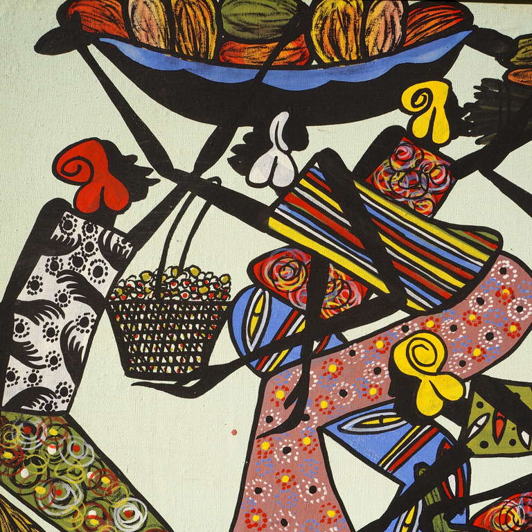 Congolese Large African Painting by Ngasagras  For Sale