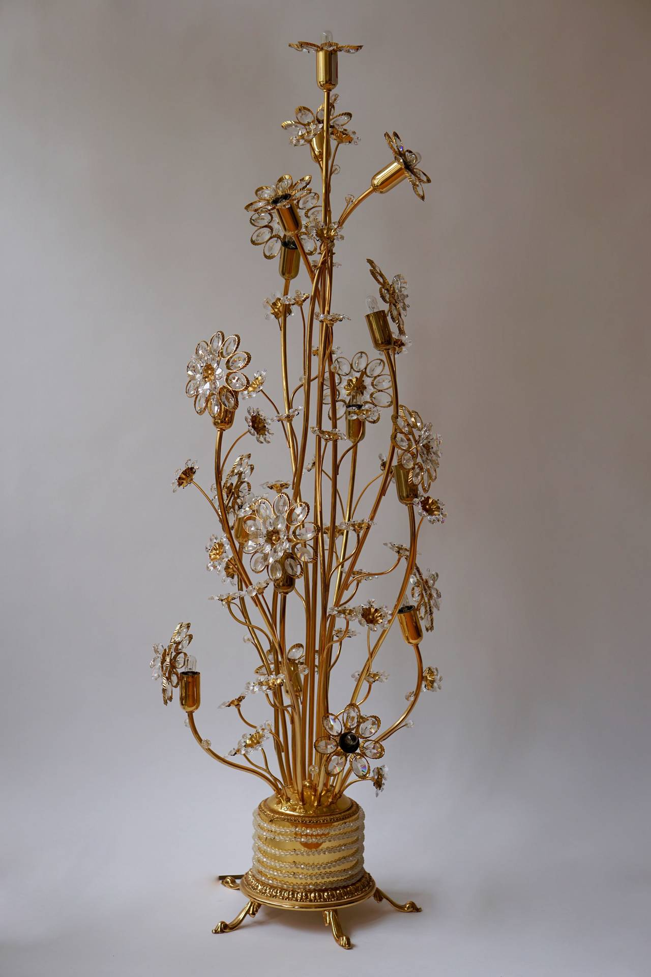 Huge palwa gilded brass and glass flower floor lamp or for Large flower floor lamp