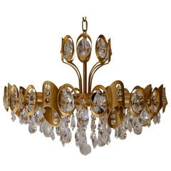Palwa Sciolari Brass and Faceted Crystal Chandelier