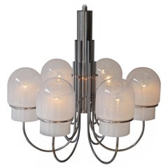 Italian Six Arched Arm Chrome and Milk Glass Chandelier, circa 1960s