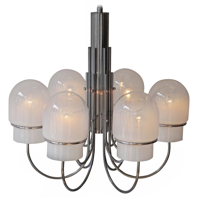 Italian Six Arched Arm Chrome and Milk Glass Chandelier, circa 1960s For Sale