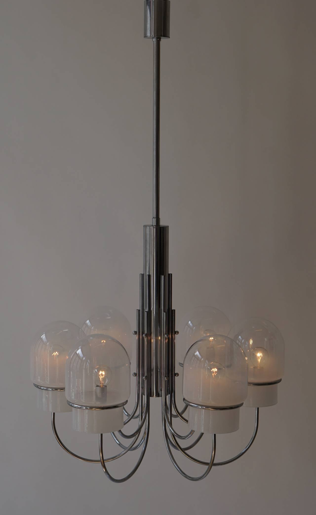 Italian Six Arched Arm Chrome and Milk Glass Chandelier, circa 1960s For Sale 3