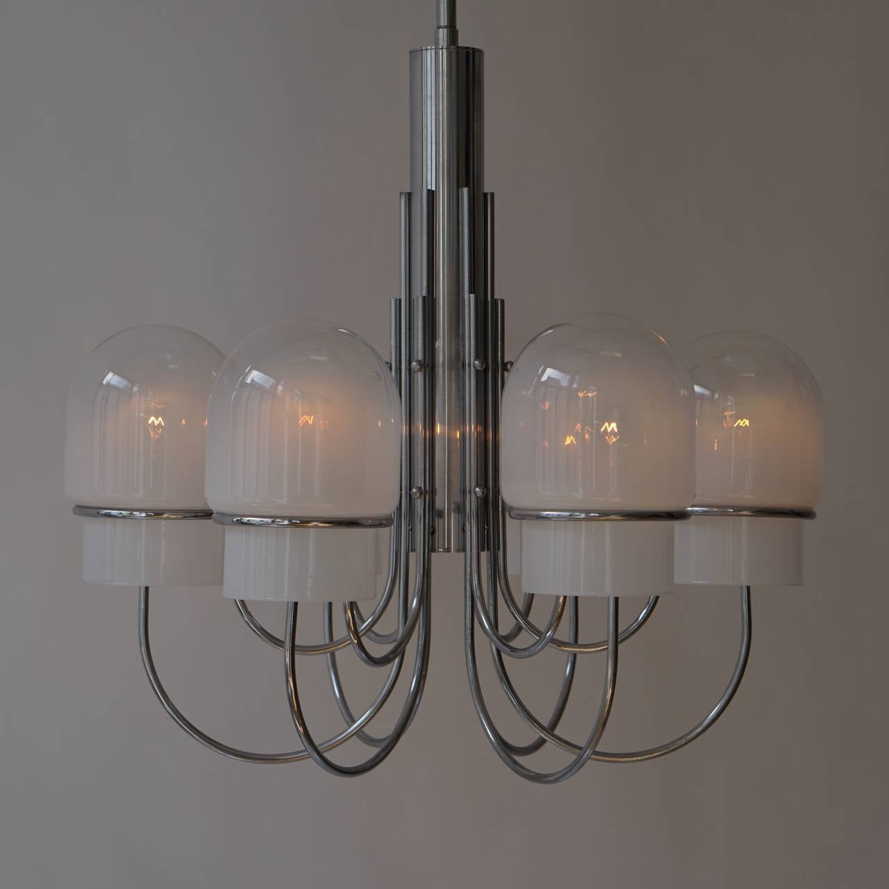 Italian Six Arched Arm Chrome and Milk Glass Chandelier, circa 1960s For Sale 1