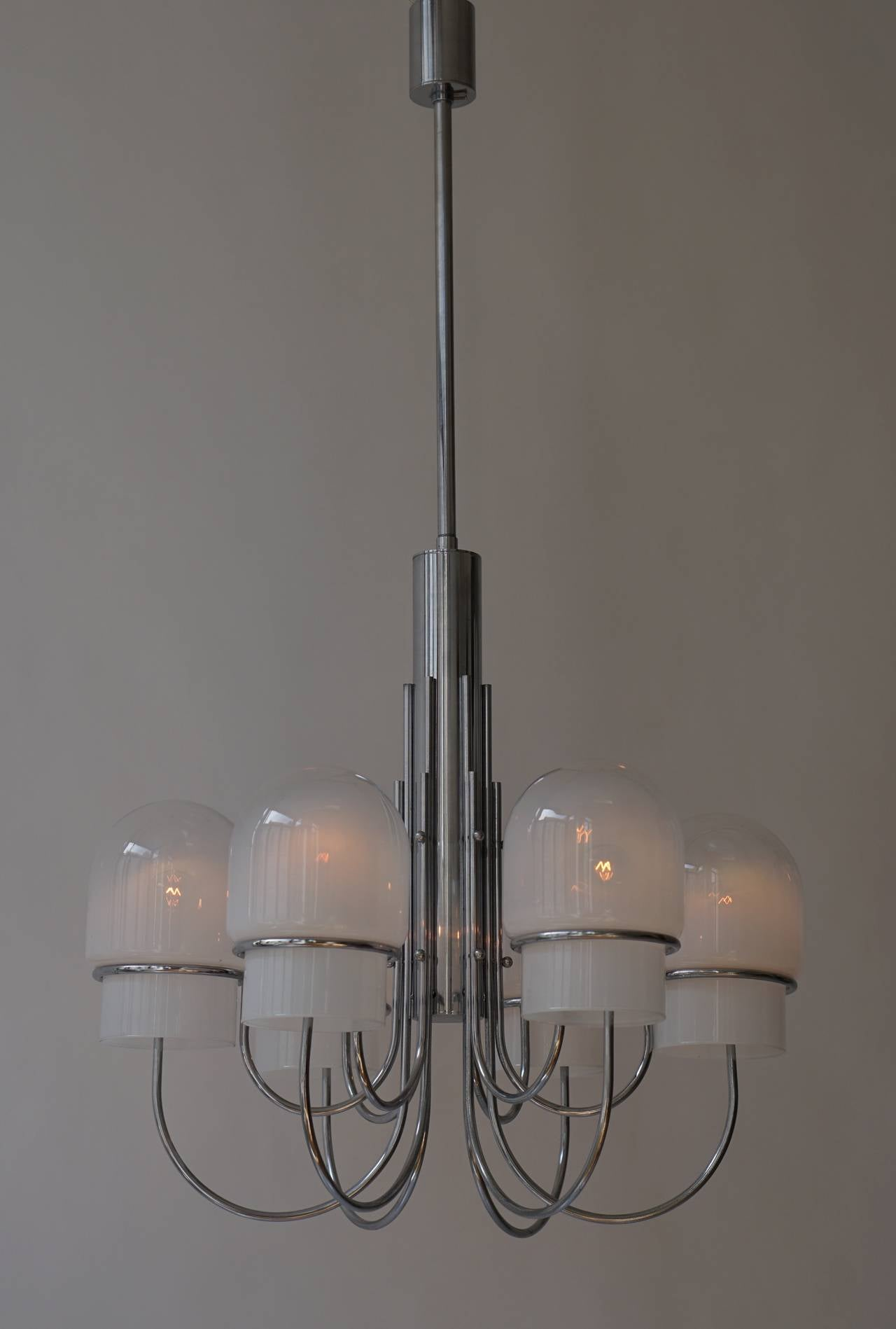 20th Century Italian Six Arched Arm Chrome and Milk Glass Chandelier, circa 1960s For Sale
