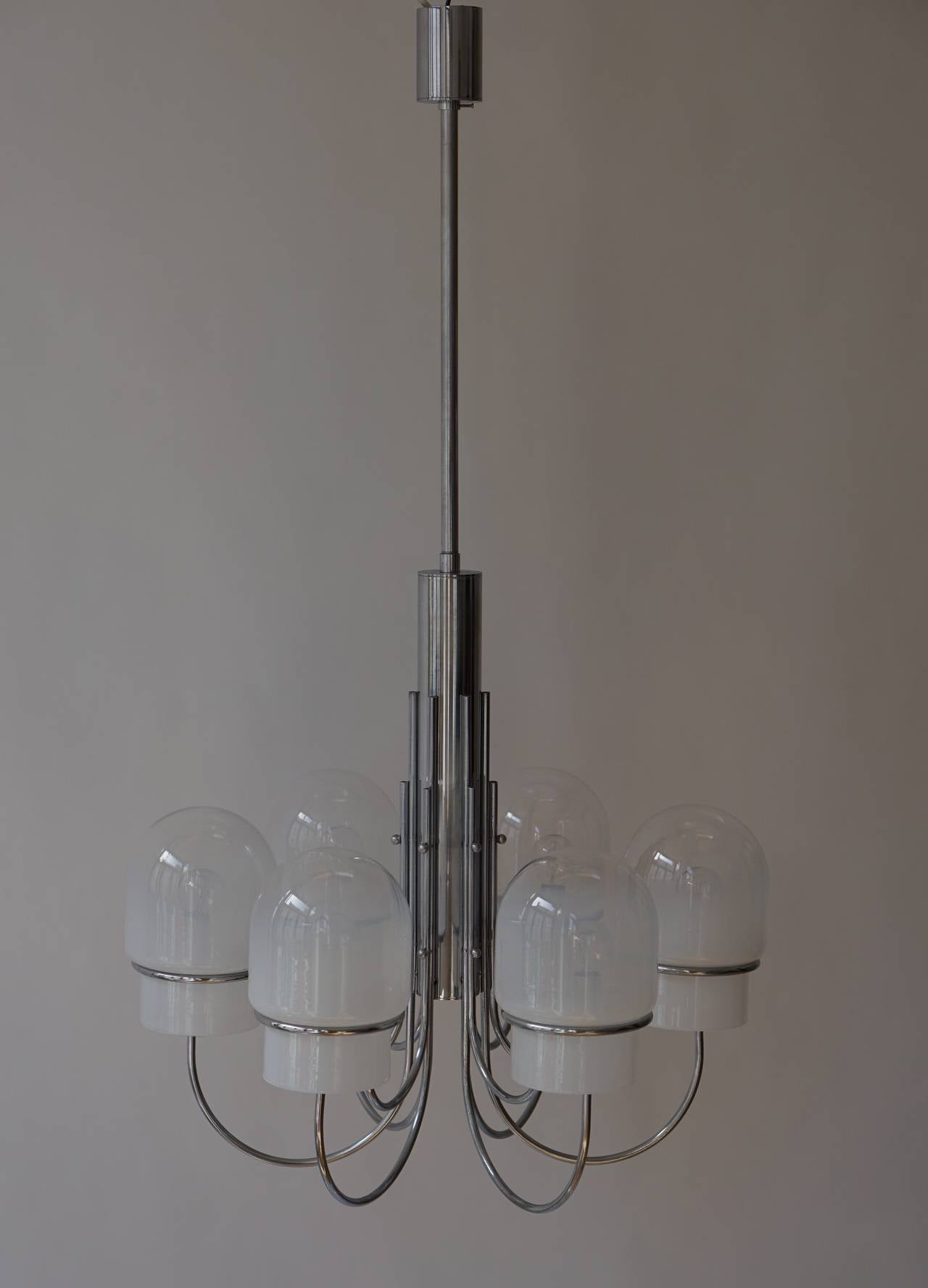 Italian Six Arched Arm Chrome and Milk Glass Chandelier, circa 1960s For Sale 4