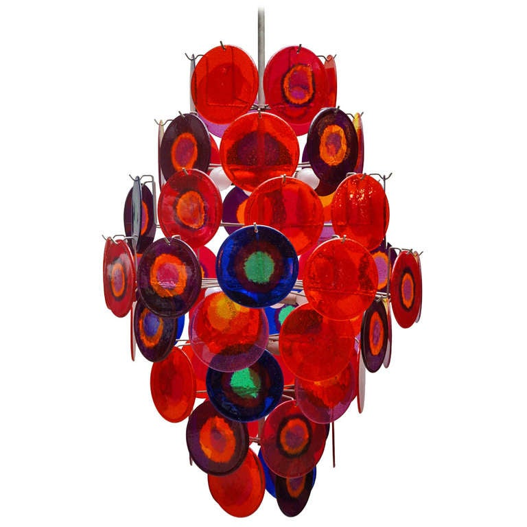 Large Chandelier with 64 Discs For Sale